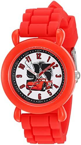 Disney Boy's 'Cars' Quartz Plastic and Silicone Casual Watch, Color:Red (Model: WDS000149)